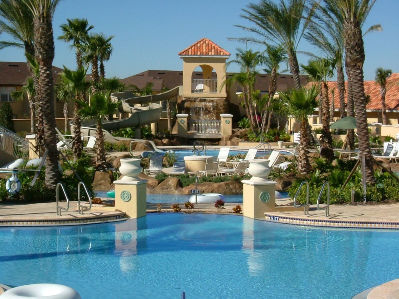 The main pool and water park on site