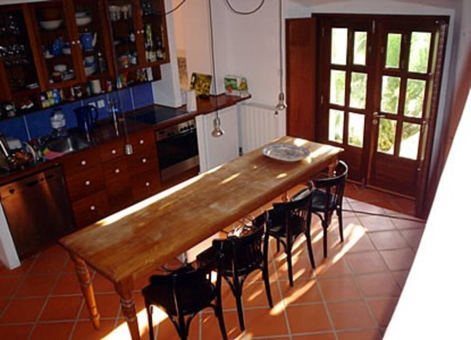 Kitchen with double Doors to Garden