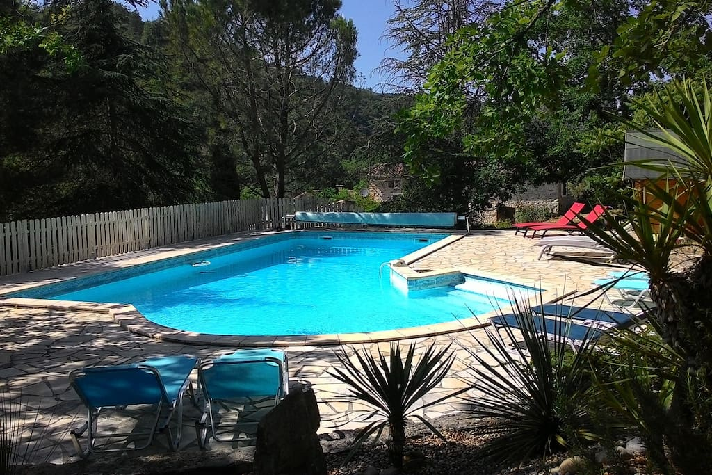 the shared, heated pool (11 x 6m) from the shaded part