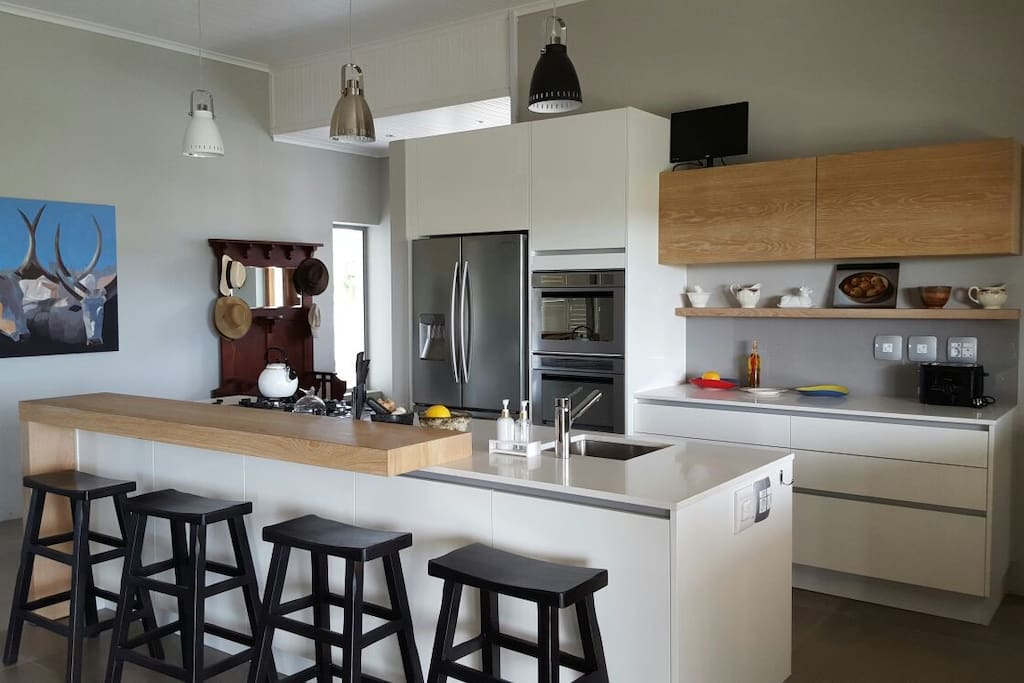 Open plan kitchen, stove and hob