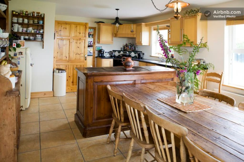 Kitchen with old pine table