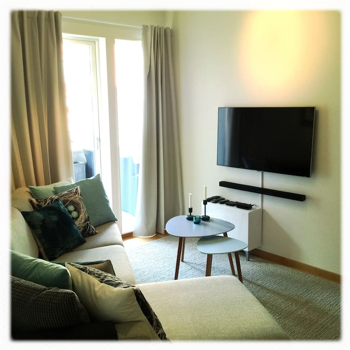 Livingroom with smart tv, stereo (bluetooth/ airplay) and apple tv.