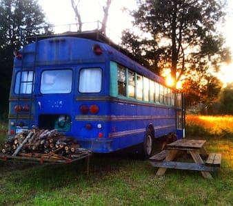 Purple bus on Cane Creek Farm in Saxapahaw - Trailer