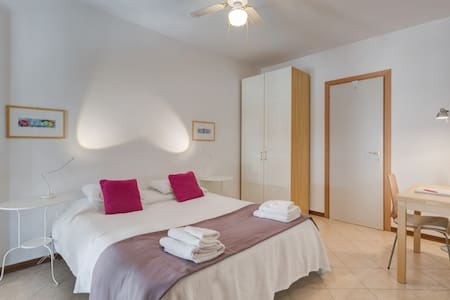 This small apartment is a STUDIO just renovated june 2015. It has a bedroom with closet and a small table, a bathroom with shower, an equipet  kitchinette and a small balcony. It is perfect for two persons,  with an extra bed can hosts three persons.