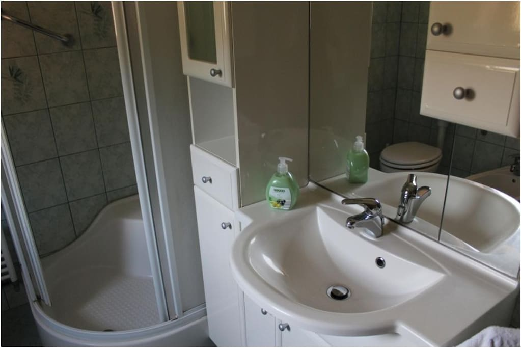 Bathroom with the shower.
