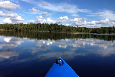 Søudsigt fiskesø hottub skov kano - Blockhütte