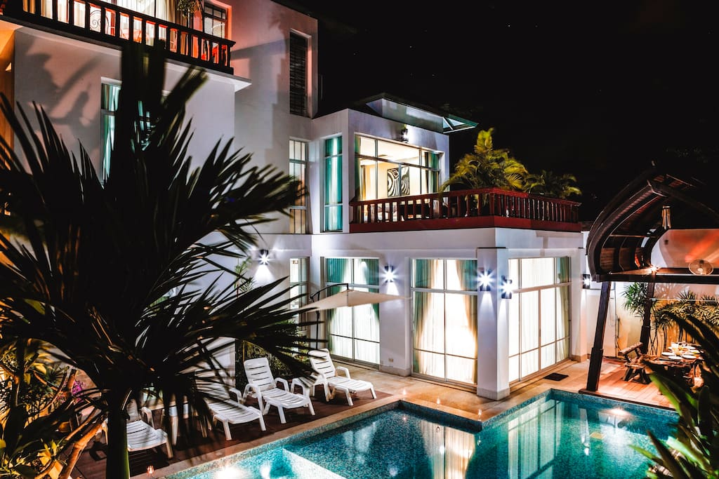 private garden area for relaxation. swimming pool with Jacuzzi bath. BBQ