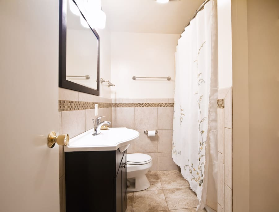 Newly remodeled guest bathroom with shower over tub