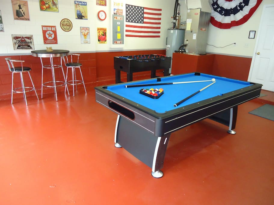 Luxury games room with Table football and pool table
