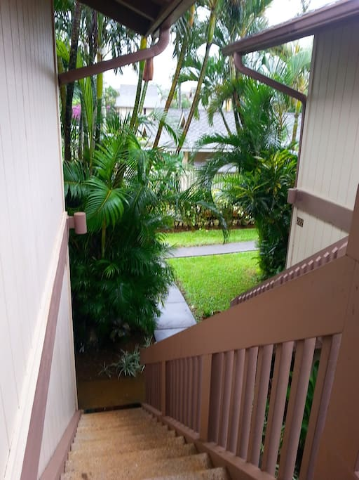 Up the stairs to your home away from home.