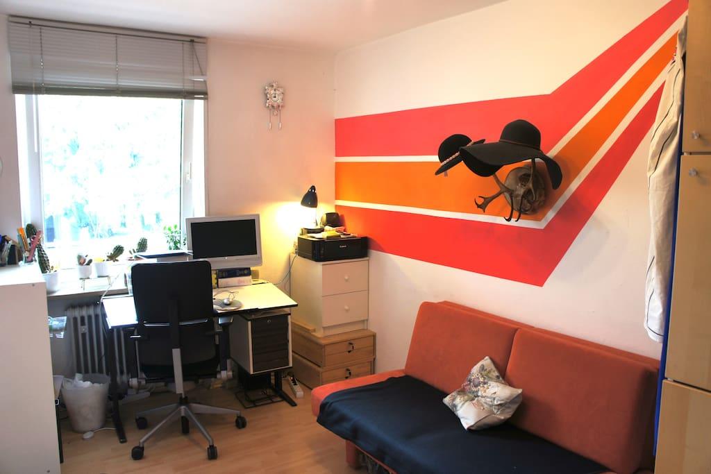 Sofa bed, desk, wardrobe