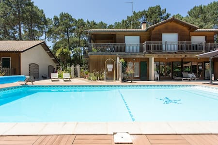 Chalet 2/3 pax piscine chauffée,golf,océan - Soustons - Dağ Evi