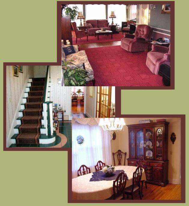 Our Guest Common Room, Stairs and Foyer leading to your Dining Area and the Dining Room