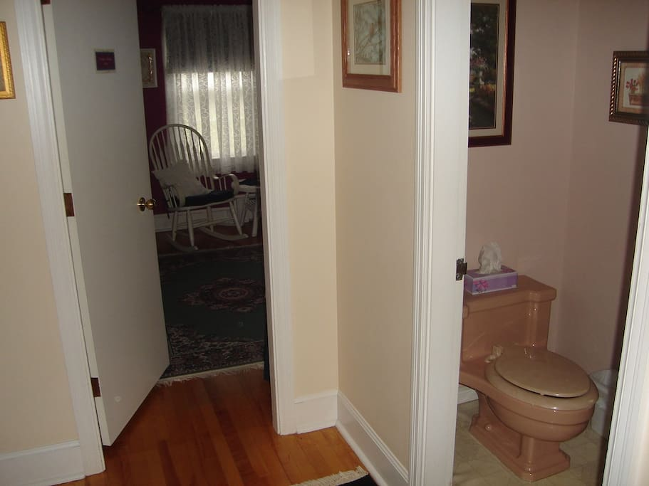 The washroom is attached in your private foyer. It is a 4 piece with custom fixtures.