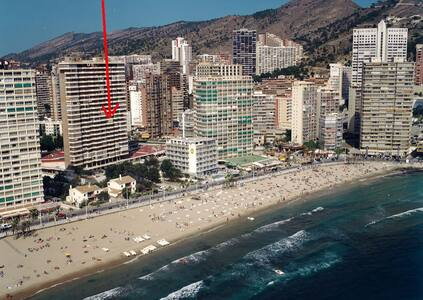 Room with shared bathroom for rent in my apartment in Benidorm Levante. Room has 1 single bed and 1 sofa bed for 2 persons. Right at the beach, close to bars and restaurants. Pool & Parking & Gym & WIFI. Use of aircon 2€ per night.