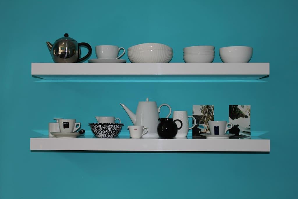 shelves in kitchen