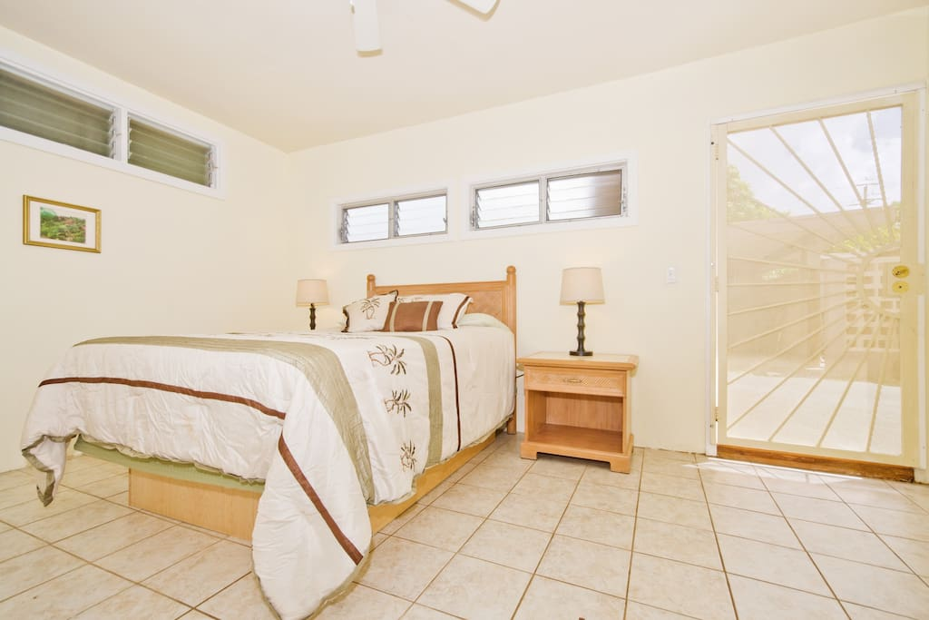 Bright clean room with space to add additional bed, if needed.