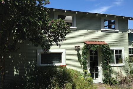 Detached cottage with large loft space on second floor (360 sf)  Downstairs has living area, kitchen and bathroom with shower. Shared BBQ and outdoor living space outside. Great location: 1.5 m to beach, 1.5 m to UCSC, .8 m to downtown.
