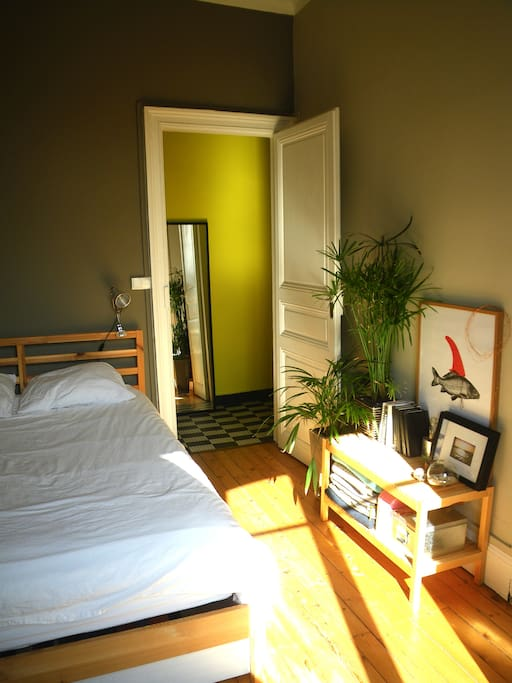 La chambre et le confortable lit double