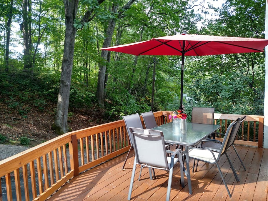 Gather around this front deck and watch the chipmunks, squirrels and birds. Many have even seen a groundhog couple   who live in the neighborhood.