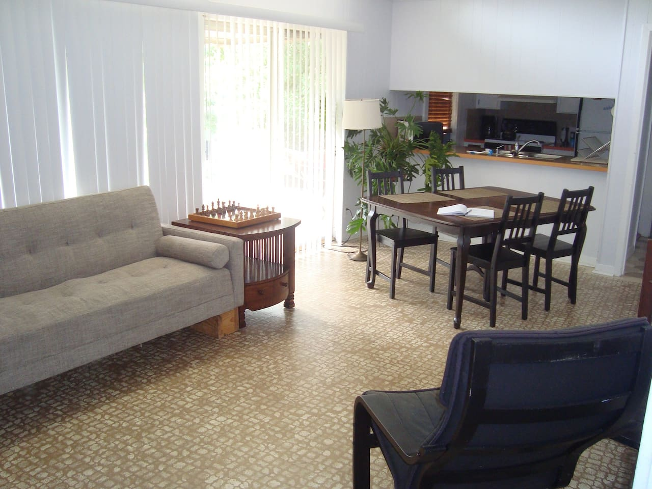 This is the living room as it appears now. These are clearly not professional photos, but they are up to date! The living room has 2 sliding glass doors and gets lovely indirect light all day. The doors give access to the patio and back yard.