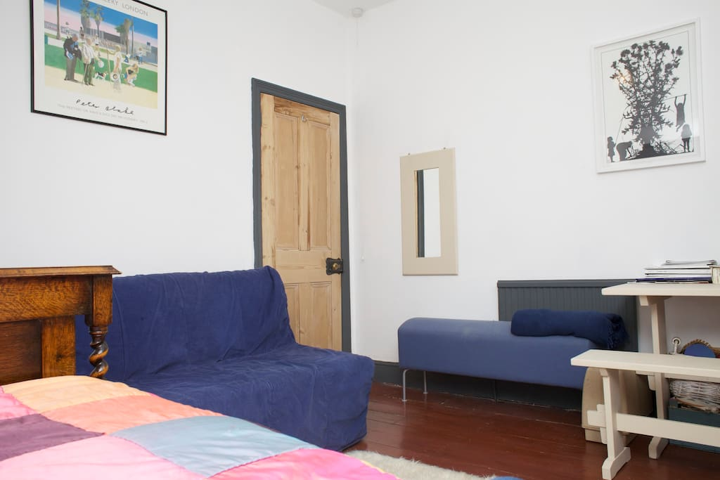 Double Room at top of house, with sofa bed and TV