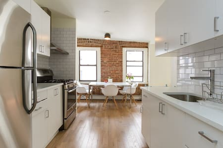 Our newly designed and renovated 3 bedroom apartment with hardwood floors, exposed brick and a 700 sq-ft rooftop with a separate kitchenette could be the perfect home for your NYC vacation for this summer.
