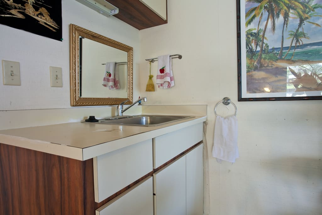 Kitchenette area shows full size kiitchen sink suitable for washing and preparing food with Garbage Disposal