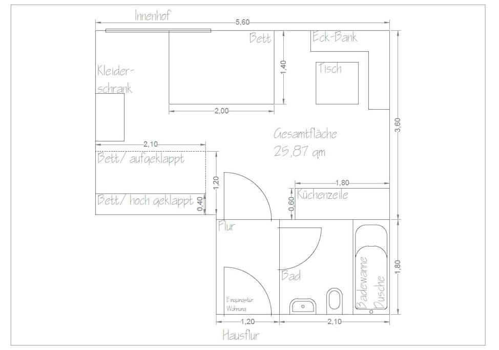 Grundriss der selbständigen Wohnung