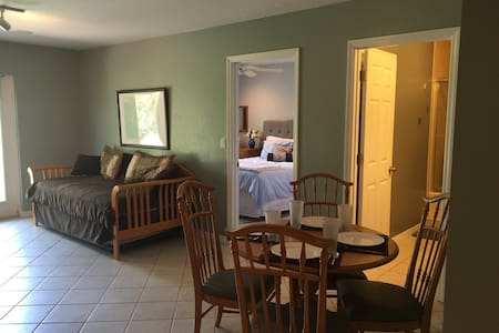 We have a walkout daylight apartment/suite with a private living room, bedroom, bath, and kitchenette. You will have a private entrance that opens up onto a patio that overlooks a lake and a dock. Minutes to bike trails, The National Training Center, and 30 minutes to Disney parks.