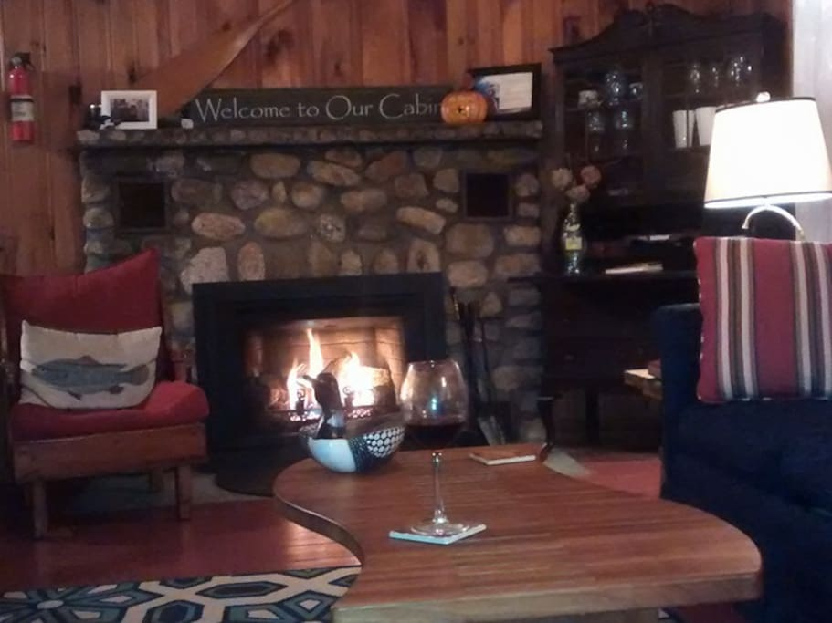 Relax by the gas fireplace in the cooler months