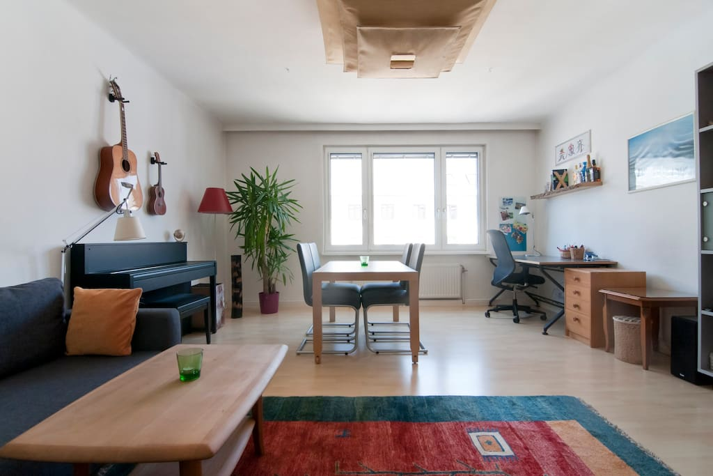 Large living room (~26 square meters) with fold-out couch (roughly 140-160cm wide), flat screen TV (Netflix access provided), eating area, desk area, steel dart board and much more.