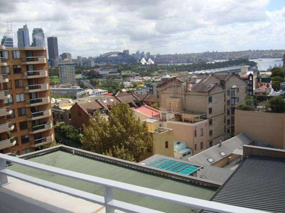 Roof top view of Sydney Harbour Bridge and Opera House