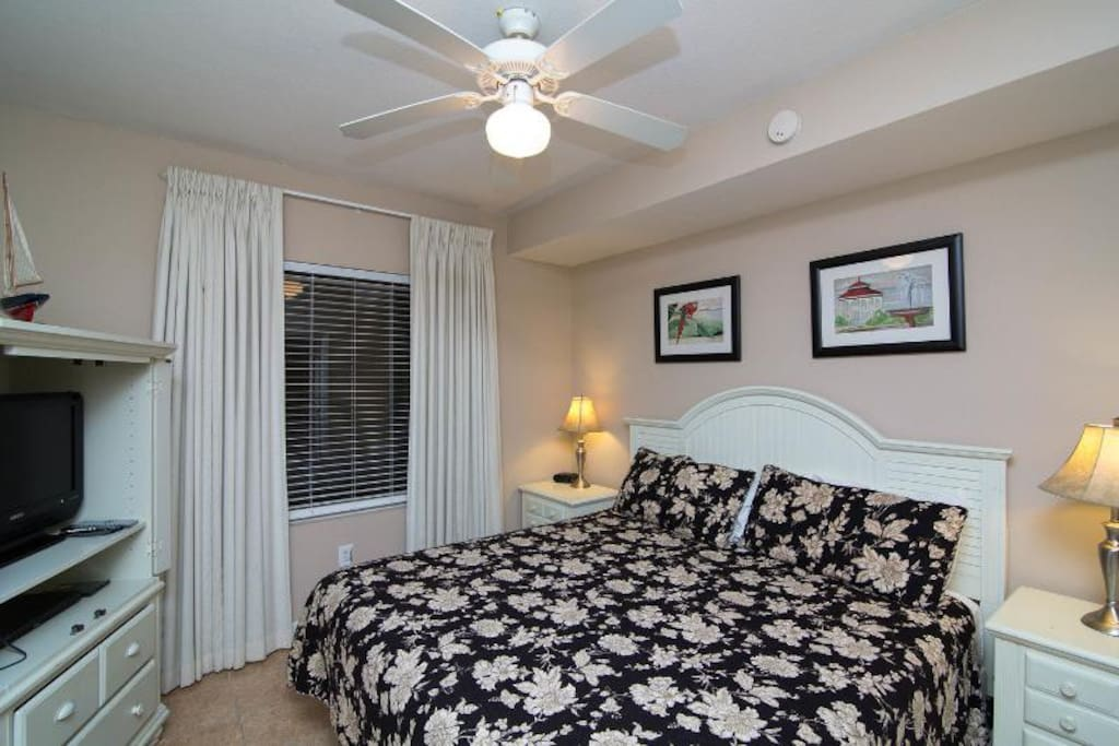 Master bedroom with king bed and private full bathroom