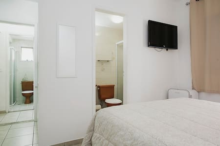 The place is a nice and very well located next to Av Pauista, with all subway lines near by, next to a shopping mall and the best hospitals of Brazil around. Wide sunny and ventilated bedroom with private and complete bathroom.