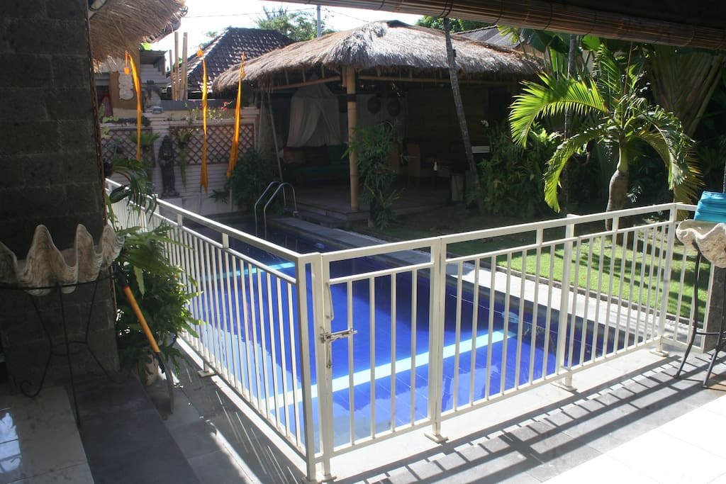 Pool Fence when required for Children. Please request Pool Fence. New Gazebo in the background.