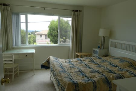 On top of San Francisco airport wit breath-taking view of the bay. Private down stair suite with separate entry from street. Memory form Queen bad. Adjacent family room and car available too. Available most of the time (Kids gone!).