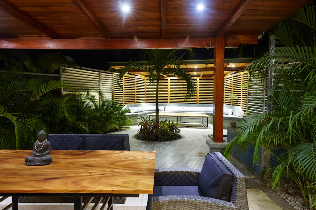 Lounge patio by night , you stay till time to sleep .