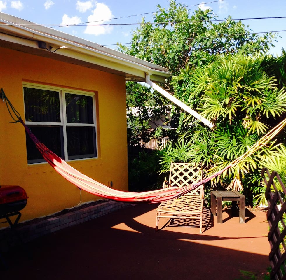 Colombian hammock on the back porch
