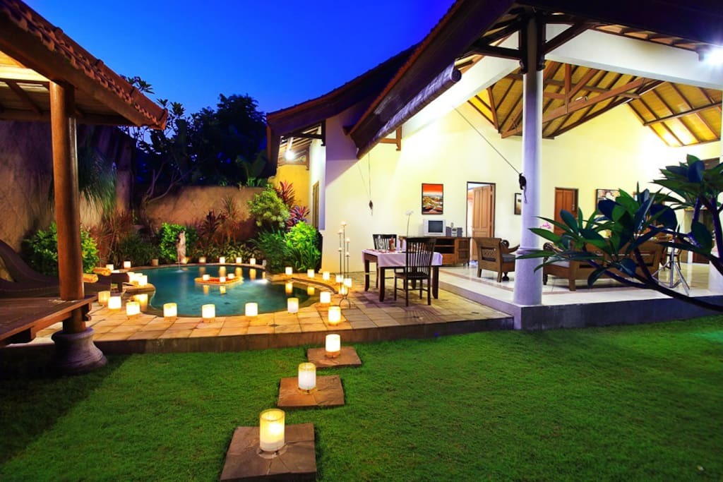 a glance of our patio with candle lamp light decoration