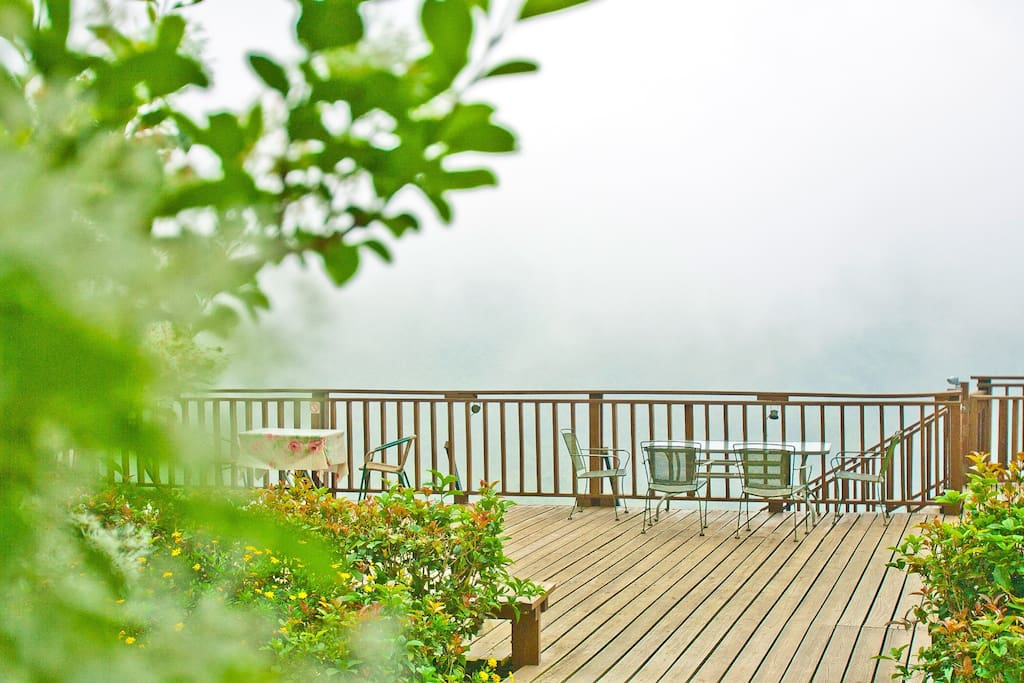 Back deck in clouds.