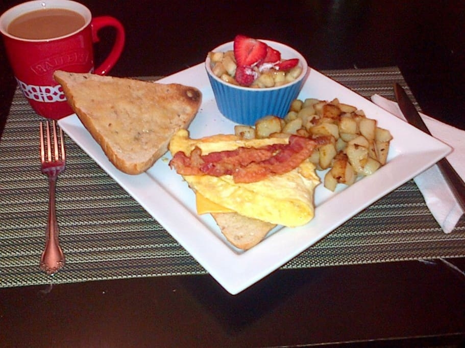 Hot Breakfast once per week or once per stay