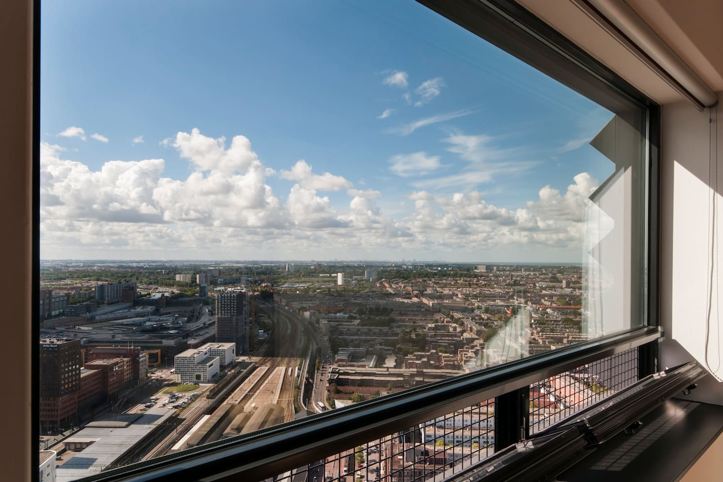 The view from apartment 774 on the 39th floor (130m), towards The Hague and Rotterdam