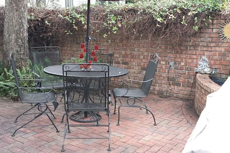 Our cozy red brick courtyard apartment is located in a quiet neighborhood within walking and biking distance to Habersham Village and Hull park.  Enjoy your choice of 6 restaurants, grocery store, package shop, Rite Aid, dry cleaning and yoga.
