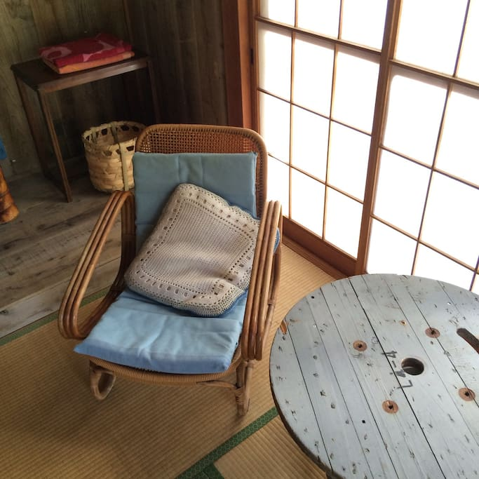 Vintage ratan lounge chairs and DIY table