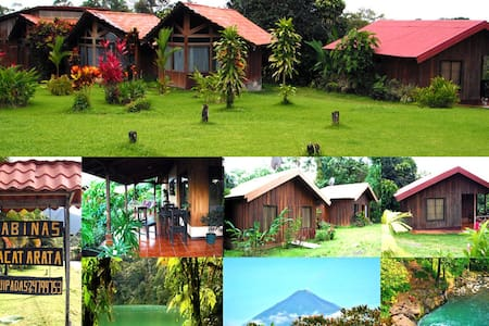 Beautiful, Peaceful, and affordable, Cabinas La Cataratas is minutes from downtown, situated alongside Rio Fortuna and 5klm from the Arenal Volcano. Cabins have an amazing Volcano view and private access to a refreshing swim in the Fortuna River.
