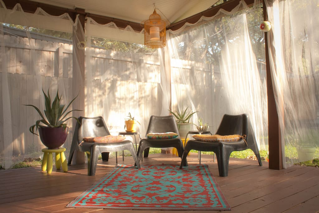 The outdoor living room is perfect for morning yoga or evening cocktails