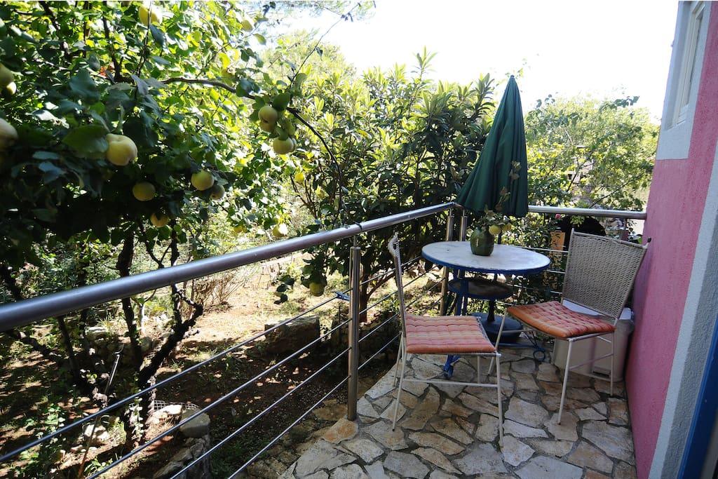The rearward terrace *** Die rückwärtige Terrasse des kleinen Appartements