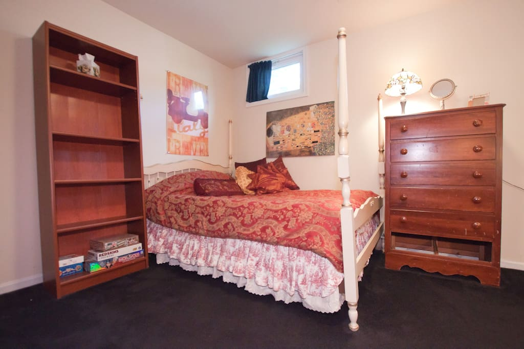 left side of the large Bedroom ~ tall bookcase ~ comfy bed ~ dresser replaced