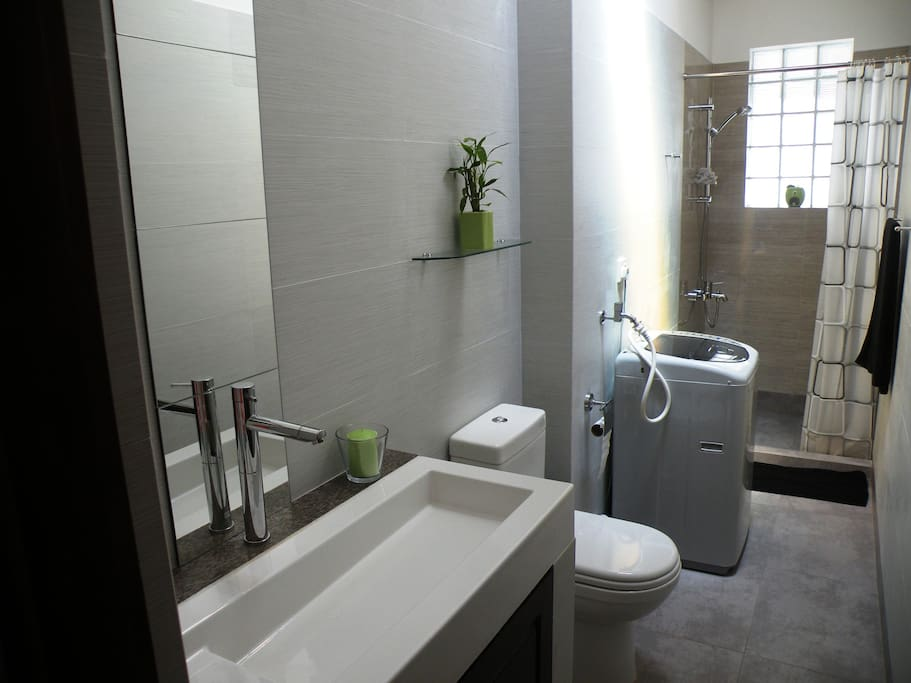 Contemporary bathroom with hot and cold water and a washing machine